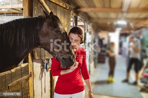 Woman kissing horse head with affection in stable