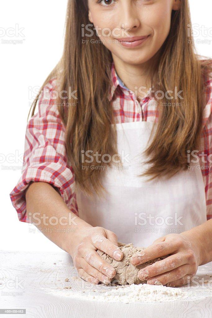 woman knead rye dough royalty-free stock photo