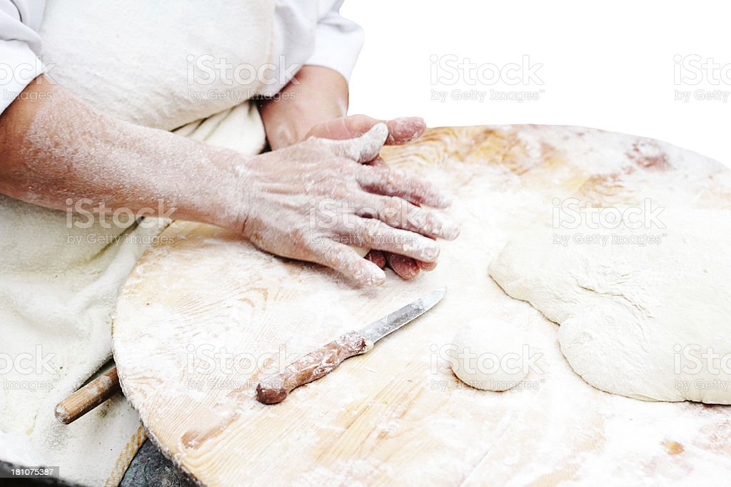 Woman kneading dough.Pastry. royalty-free stock photo