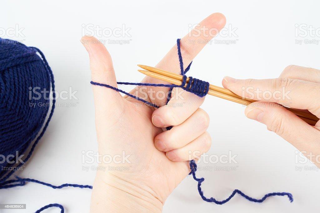 Woman knits stock photo