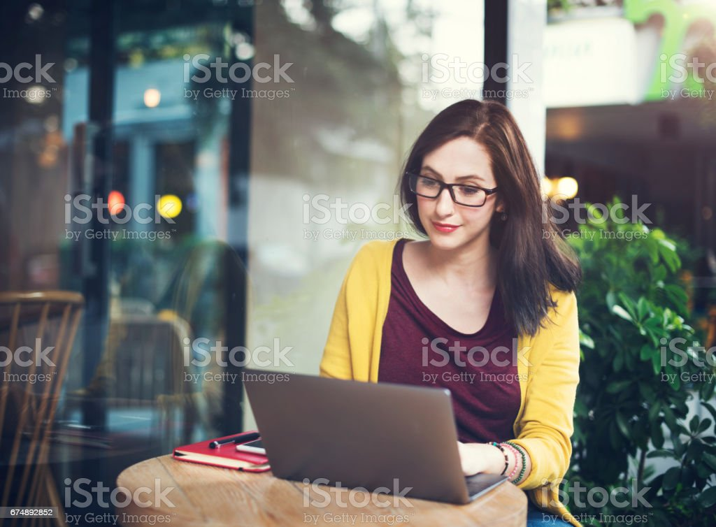 Woman Laptop Browsing Searching Social Networking Technology Concept stock photo