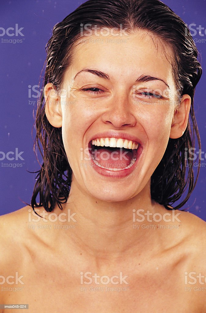 Woman laughing royalty free stockfoto