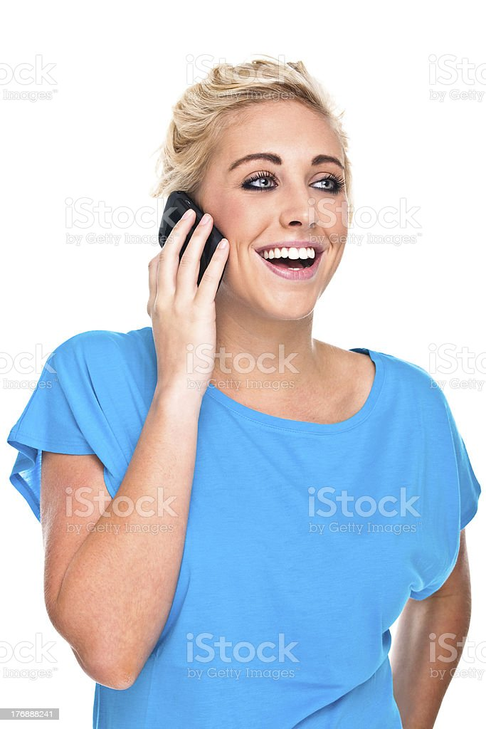 Woman Laughing Speaking on Cell Phone royalty-free stock photo