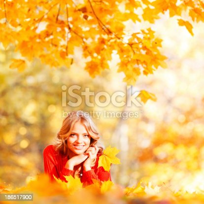 Woman Laying On Autumn Leaves Stock Photo & More Pictures of Adult
