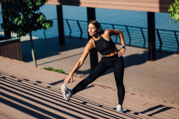 Woman leading a healthy lifestyle stock photo