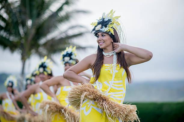 Woman Leading the Luau Performance stock photo