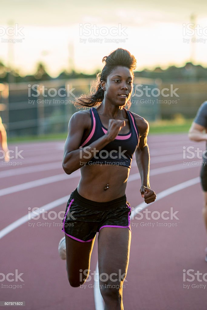 Woman Leading the Race stock photo