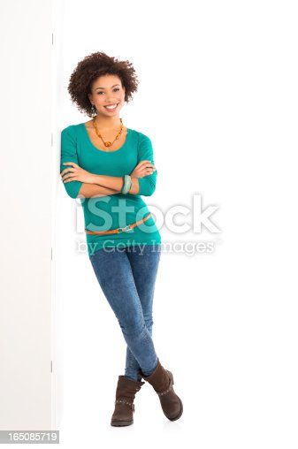 istock Woman Leaning Against a Panel 165085719