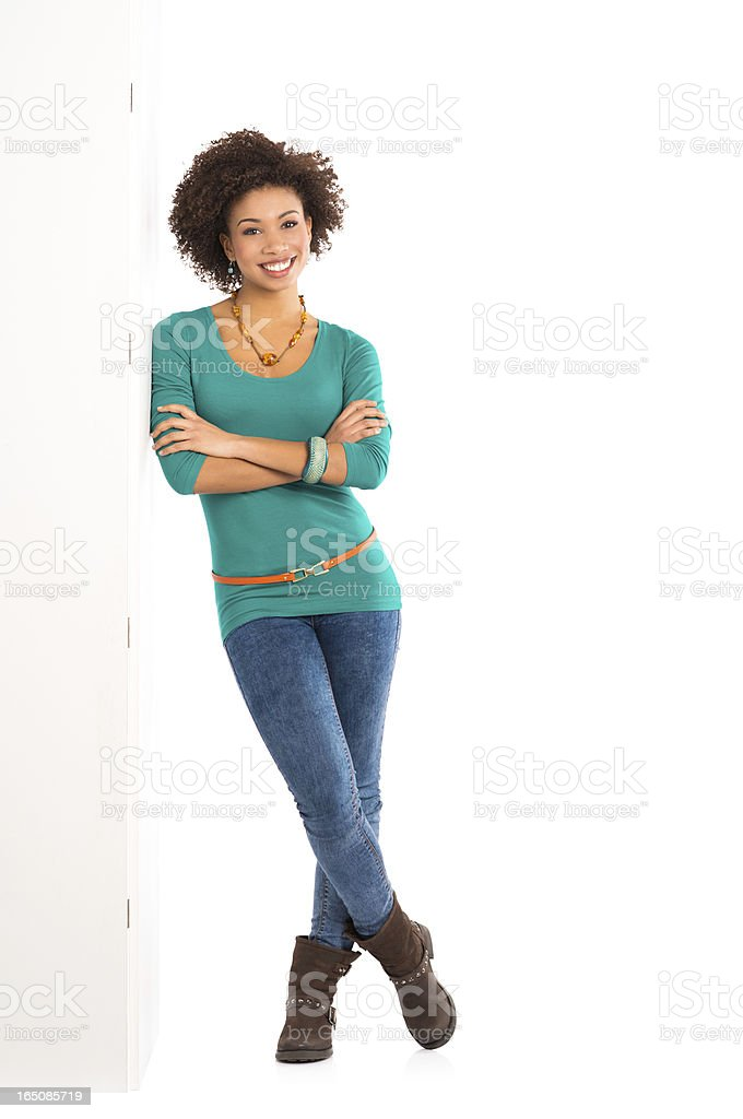 Woman Leaning Against a Panel stock photo