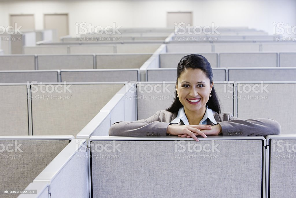 Woman leaning on cubicle wall in office, smiling, portrait royalty-free 스톡 사진
