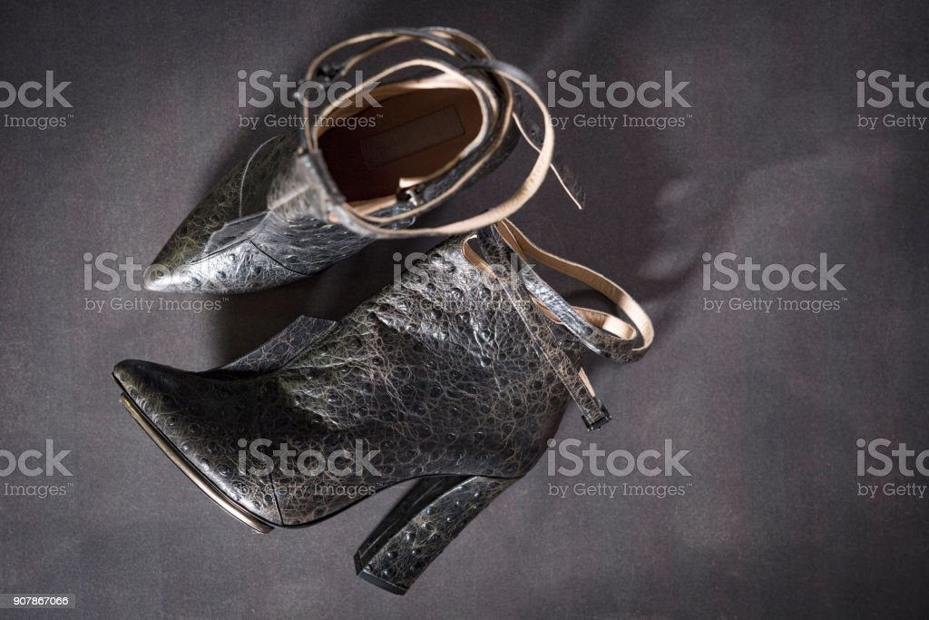 woman leather boot stock photo