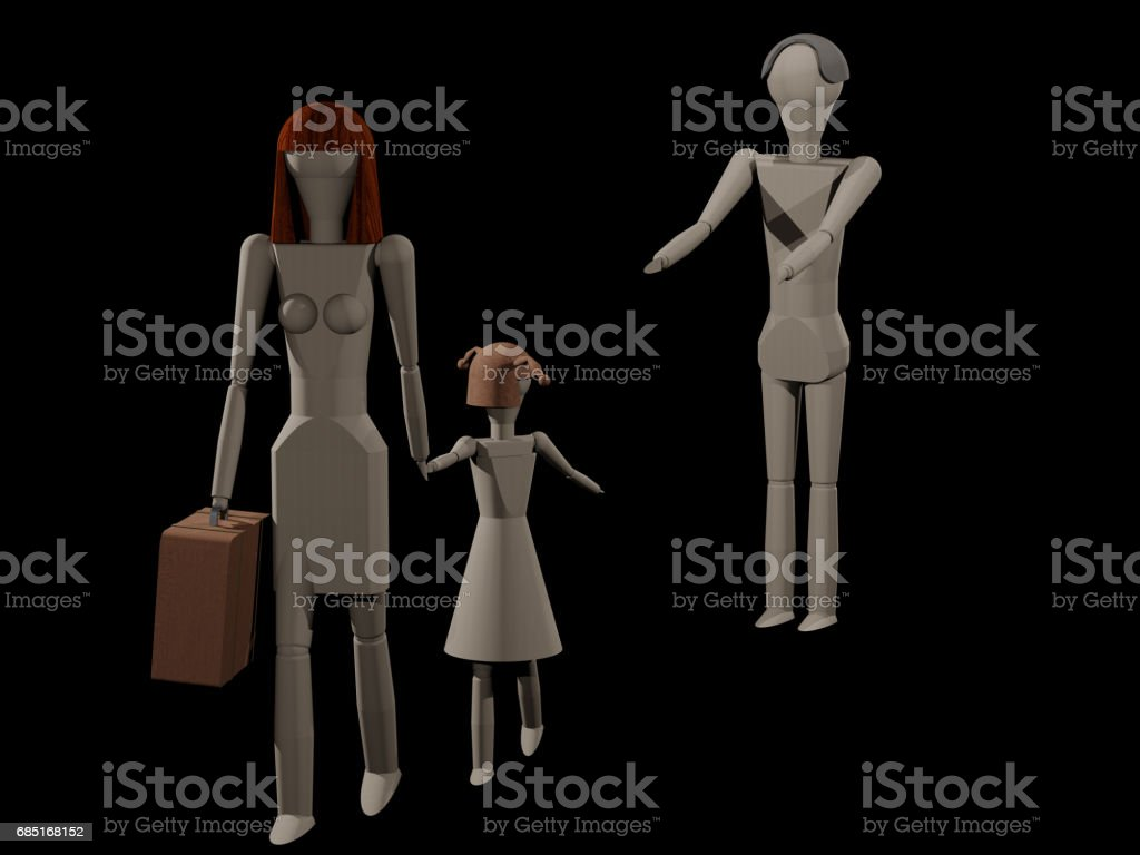 Woman leaves man with child (care rights strife) royalty-free stock photo