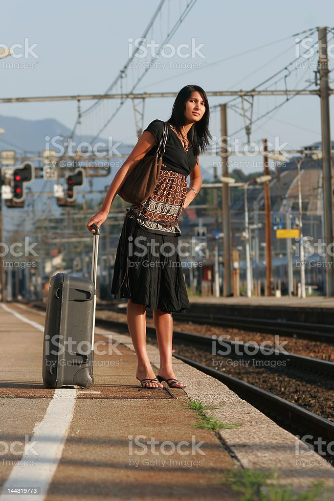 Woman leaving on a journey royalty-free stock photo