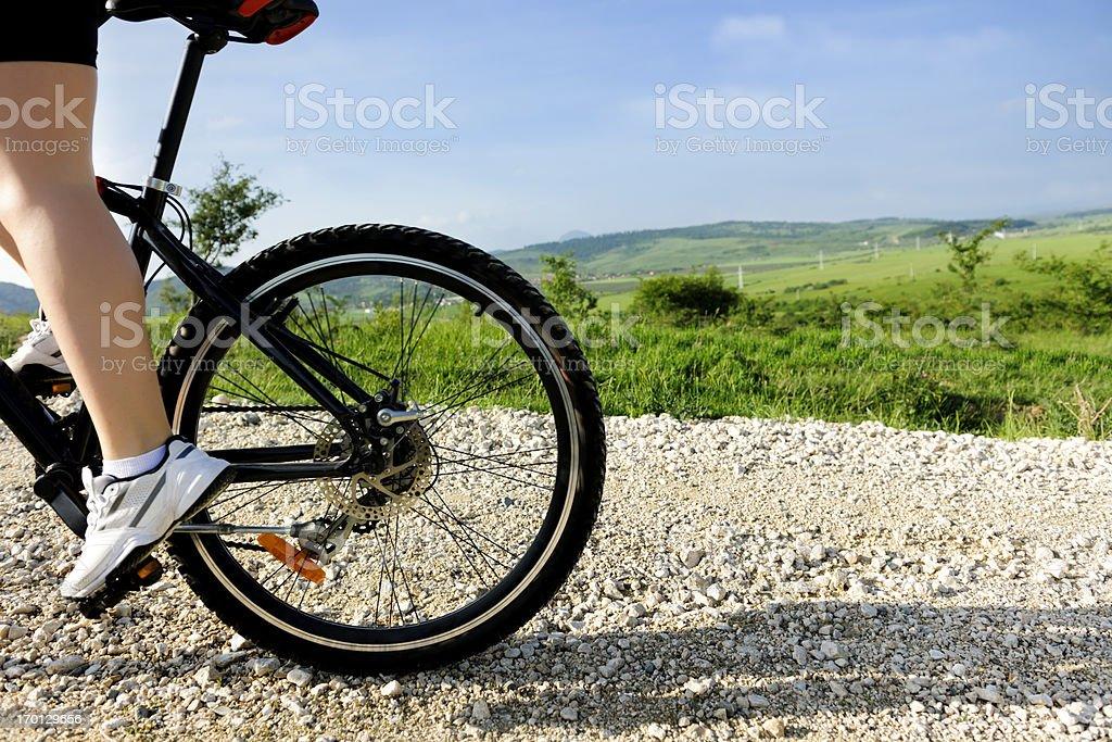 woman leg on bike royalty-free stock photo