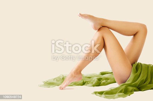 Woman Legs Beauty and Body Skin Care, Female Lying Isolated over White Background, Depilation and Hair Removal