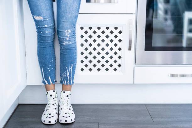 Woman legs detail stock photo