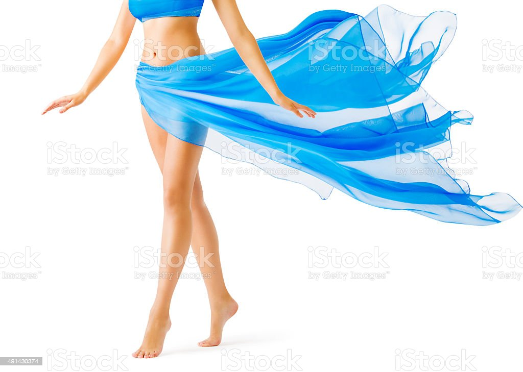 Woman Legs, Girl in Blue Waving Dress, Leg Tiptoe, White stock photo