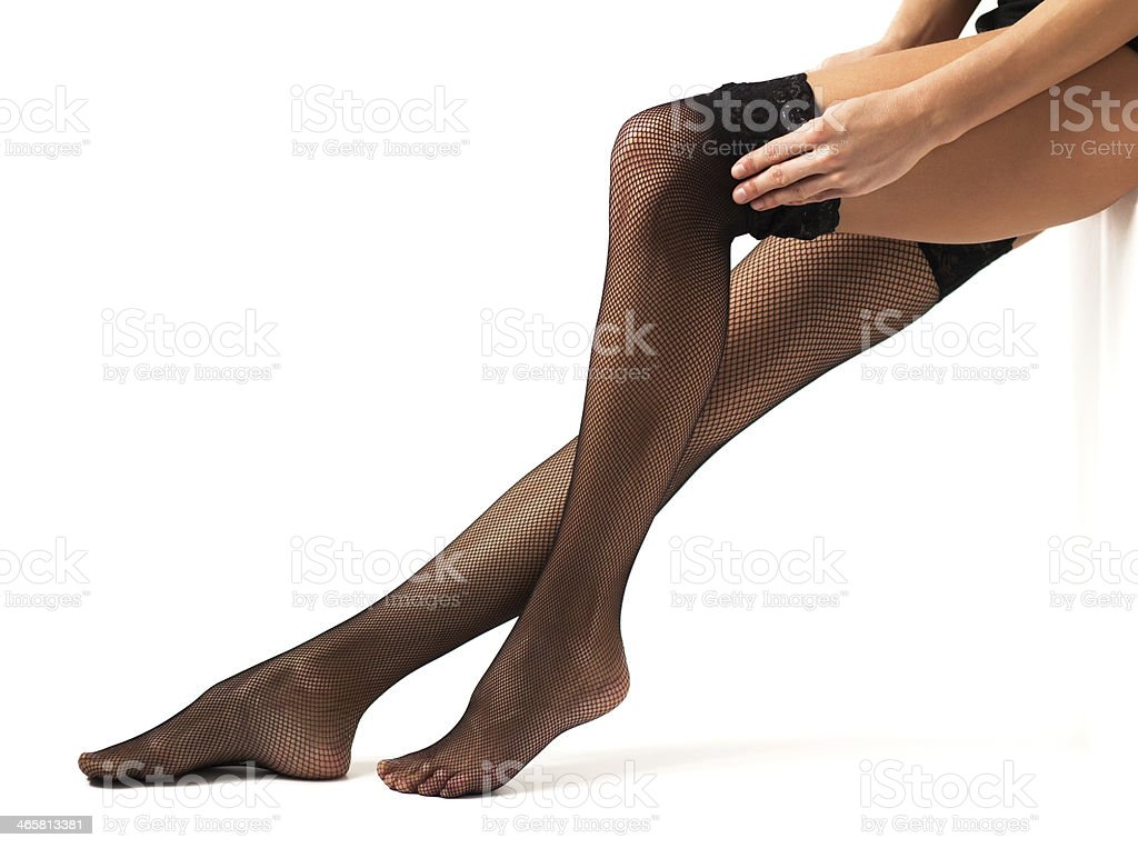 Frau Beine in Schwarze Strümpfe – Foto