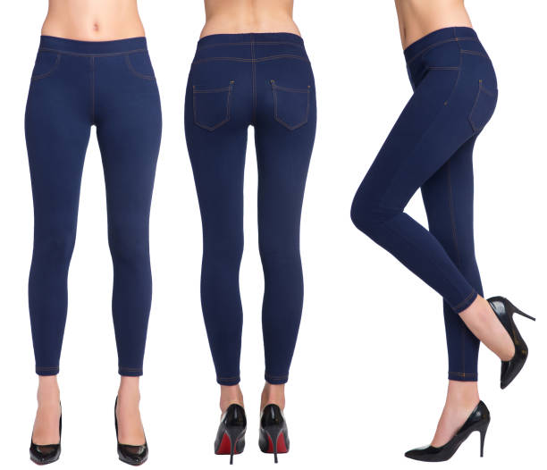 Woman legs in blue leggings Woman legs in blue leggings wearing high-heeled black shoes. Three angles. Isolated on white background. hot sexy butts stock pictures, royalty-free photos & images