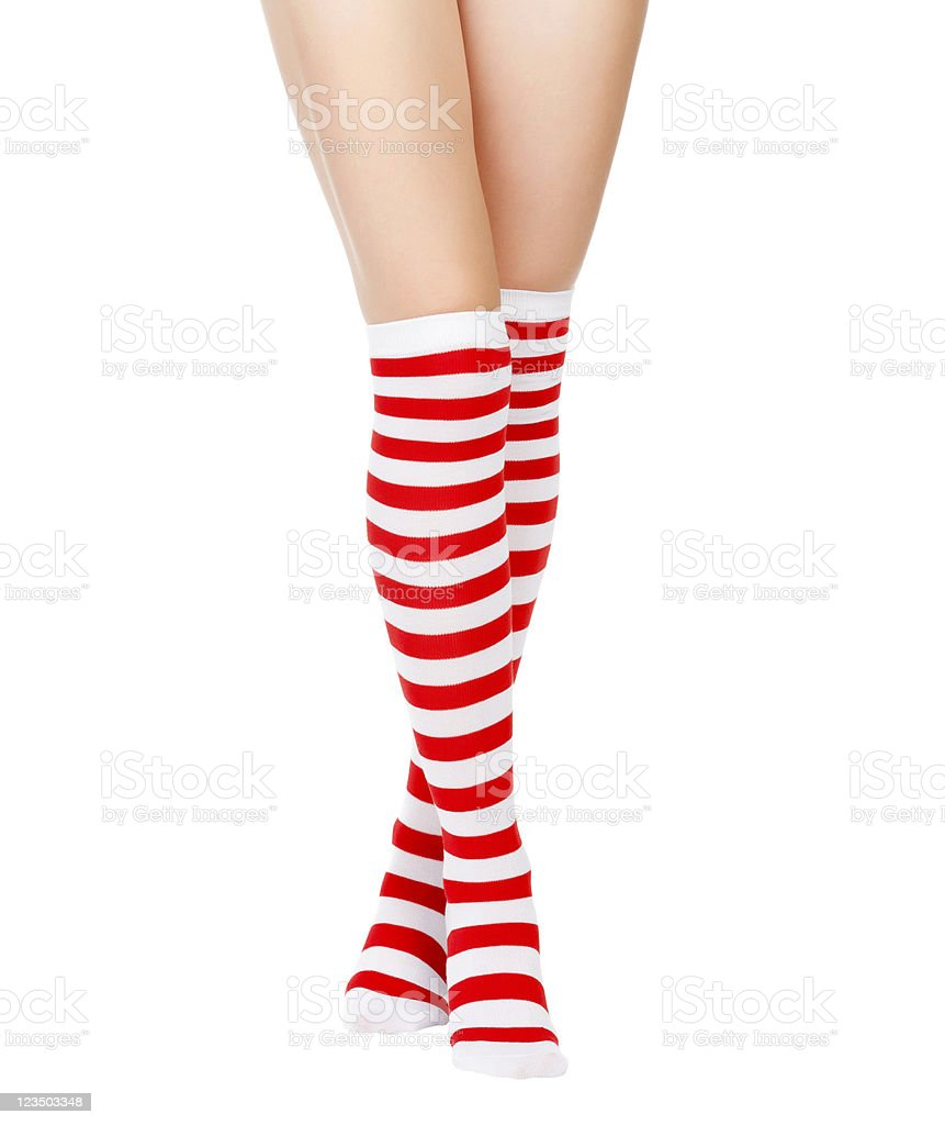 woman legs in color red socks stock photo