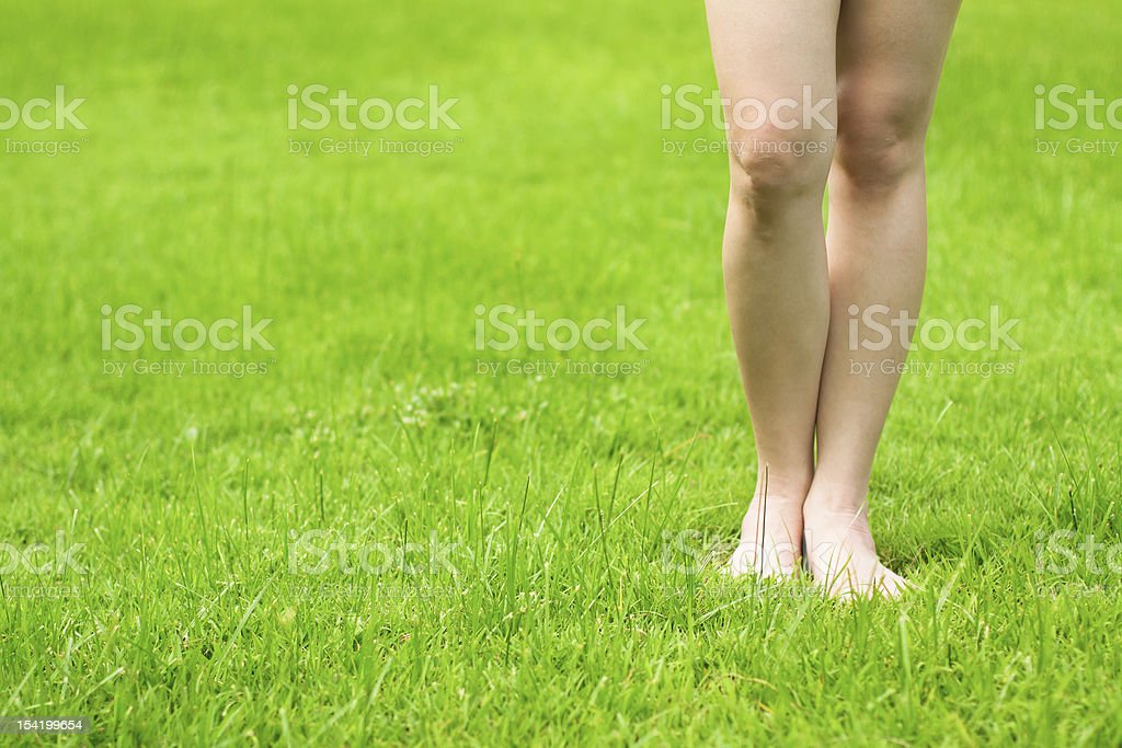 Woman legs on fresh green grass royalty-free stock photo
