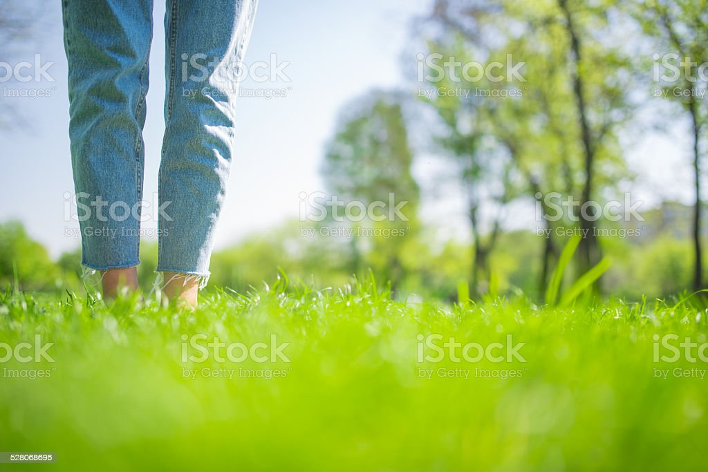 Woman legs on grass stock photo