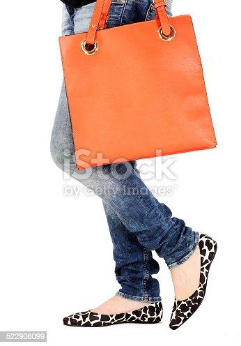 636803682 istock photo woman legs with fashion bag 522908099