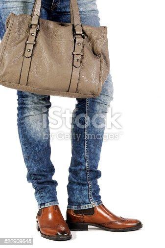 636803682 istock photo woman legs with fashion bag 522909645