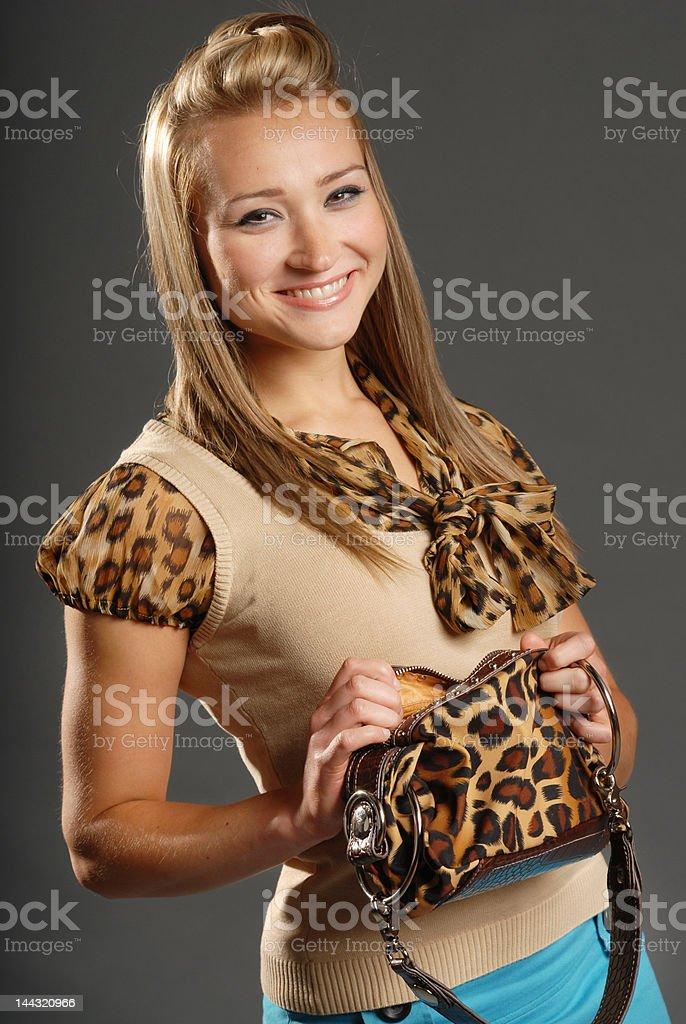 woman leopard print stock photo