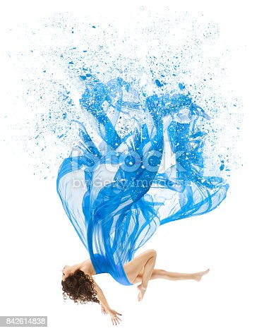 istock Woman Levitate In Art Dress, Fashion Model Levitation, Blue Artistic Fabric Flying As Melted Water 842614838