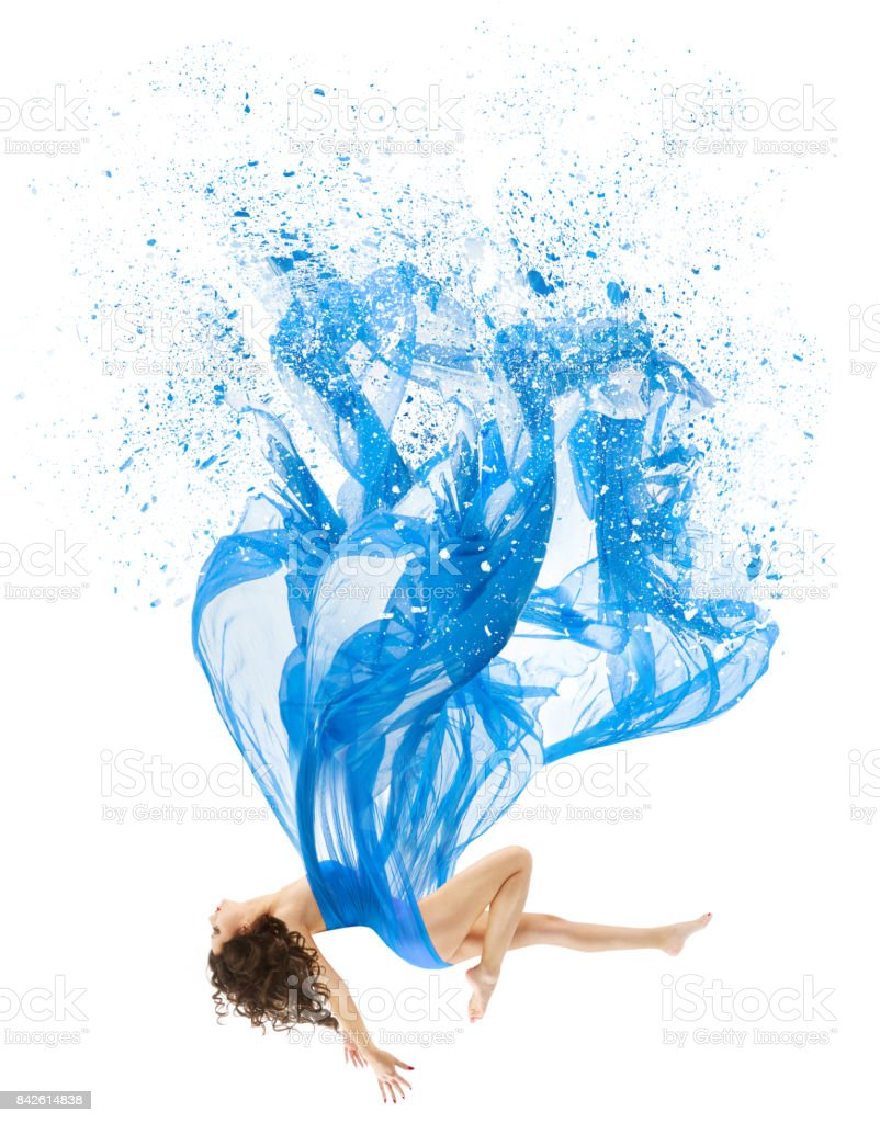 Woman Levitate In Art Dress, Fashion Model Levitation, Blue Artistic Fabric Flying As Melted Water stock photo