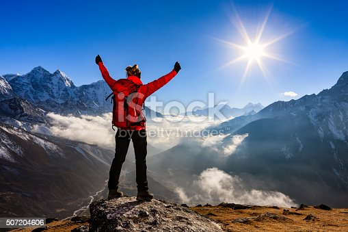 Young woman, wearing red jacket, lifts her arms in victory. She is standing on the top of a mountain and watching sunset over Himalayas .Mount Everest National Park. This is the highest national park in the world, with the entire park located above 3,000 m ( 9,700 ft). This park includes three peaks higher than 8,000 m, including Mt Everest. Therefore, most of the park area is very rugged and steep, with its terrain cut by deep rivers and glaciers. Unlike other parks in the plain areas, this park can be divided into four climate zones because of the rising altitude.http://bem.2be.pl/IS/nepal_380.jpg