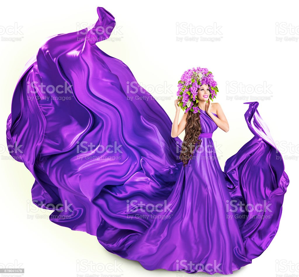 Woman Lilac Dress, Fashion Model Flowers Artistic Spring Crown, White stock photo