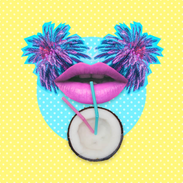 Woman lips drink milk or beverage from half of coconut by straws on palm trees background.