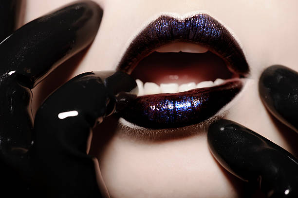 woman lips - latex stock pictures, royalty-free photos & images