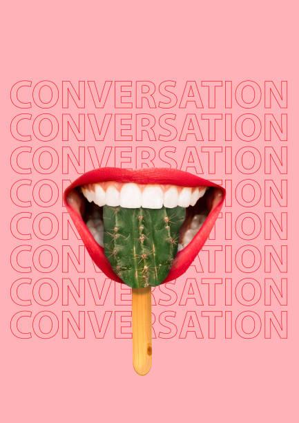 frau lippen schmecken kaktus-eis als spezielle süßigkeiten. würzige konvrationskonzept mit hintergrundtext. zeitgenössische moderne kunstcollage. - flyer inspiration stock-fotos und bilder