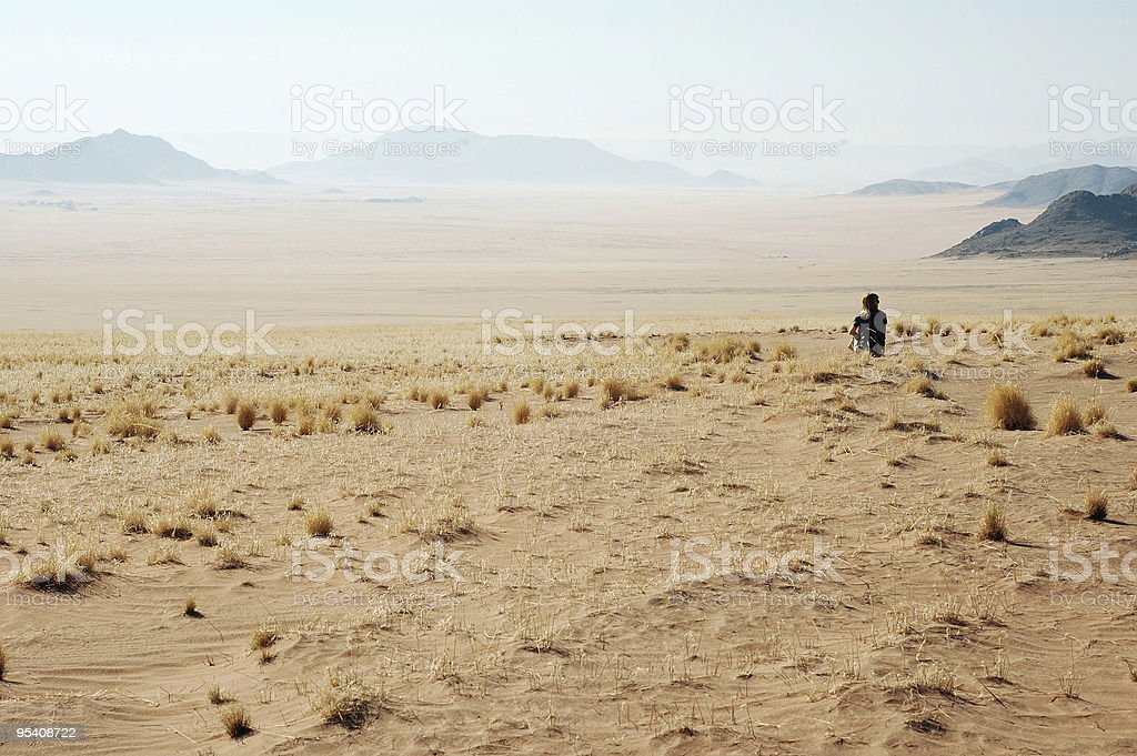 Woman look at the desert royalty-free stock photo