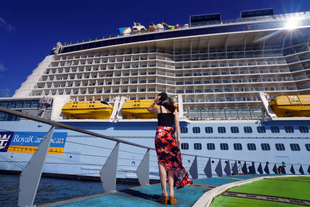 Woman Looking at a Cruise Ship Fort-de-France, Martinique - April 23, 2017: On Pier, a woman is looking at Anthem of the Seas cruise ship. royalty stock pictures, royalty-free photos & images