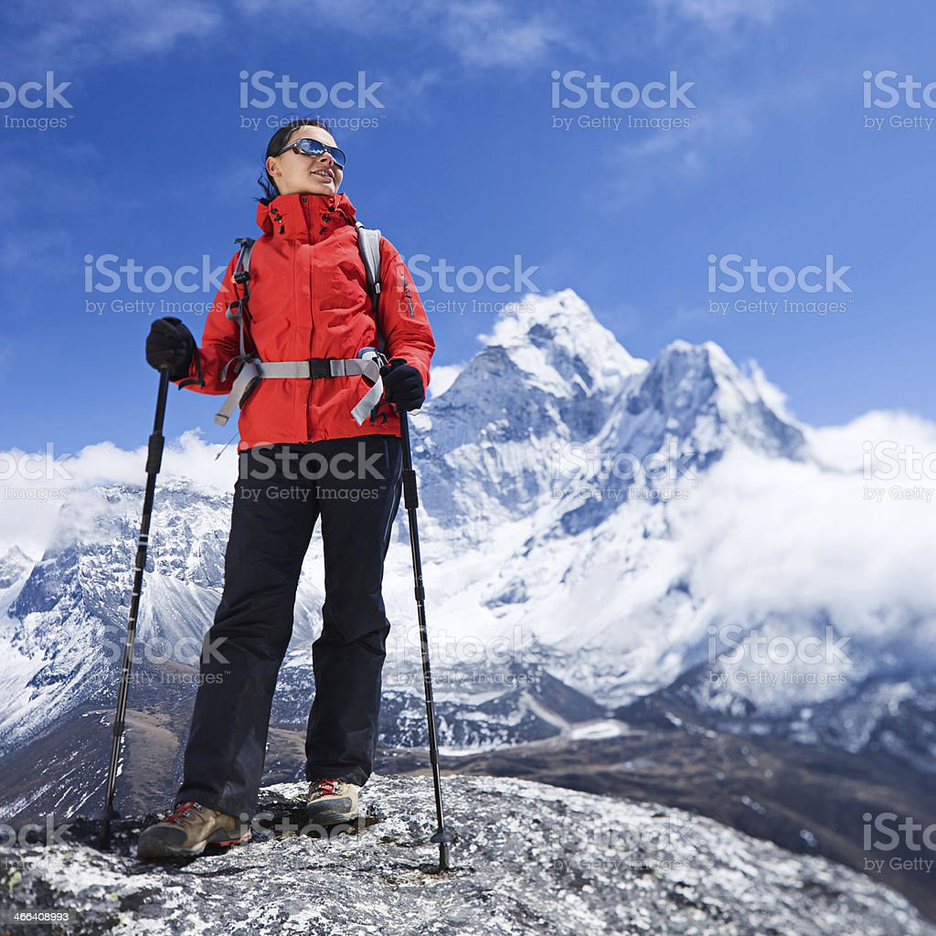 Woman looking at Ama Dablam, Mount Everest National Park royalty-free stock photo