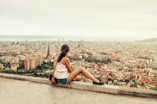 Frau, die in Barcelona – Foto