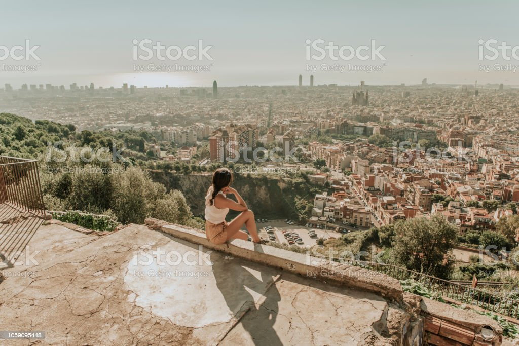 Woman looking at Barcelona - Royalty-free 35-39 Years Stock Photo