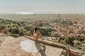Woman looking at Barcelona