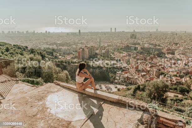 Woman Looking At Barcelona Stock Photo - Download Image Now