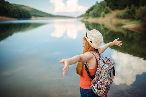 Woman Looking At Breathtaking Landscape Stock Photo - Download Image Now