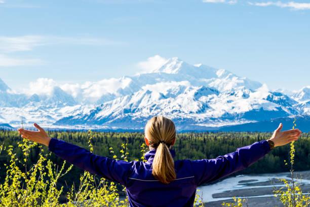 kvinna som tittar på bergskedjan. - denali national park bildbanksfoton och bilder