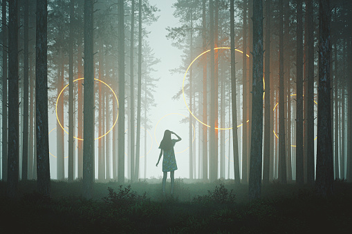 Woman looking at mysterious rings in the forest at night, 3D generated image.