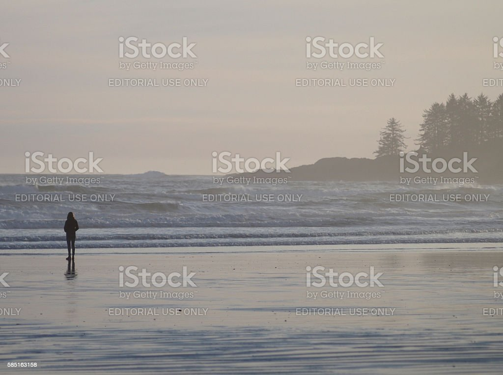 Woman Looking at Pacific Ocean at Long Beach, Tofino, Canada stock photo