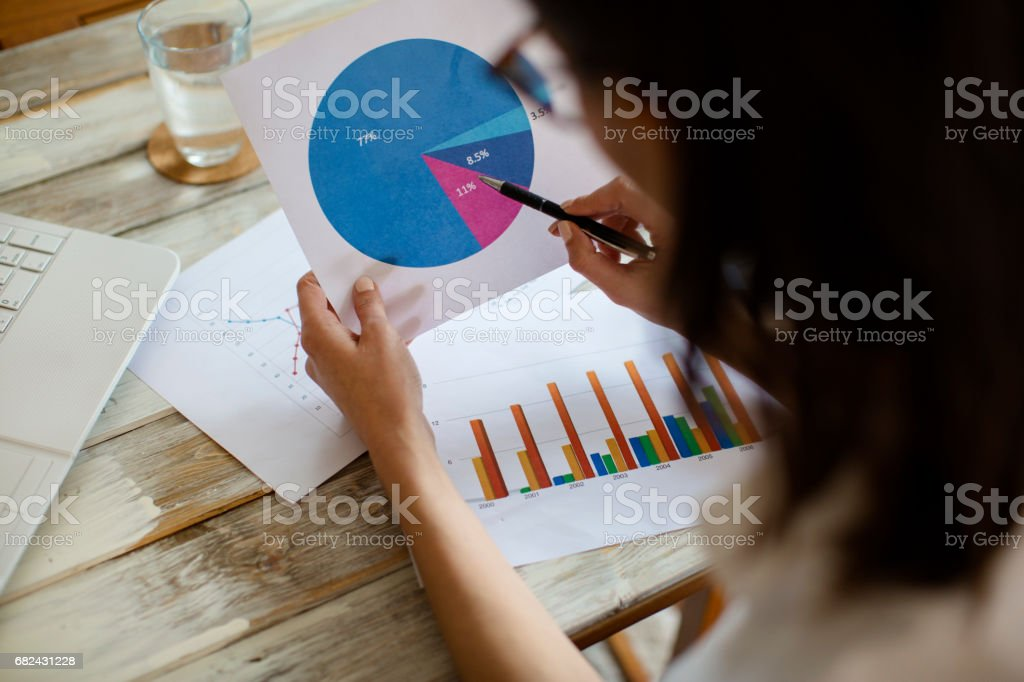 Woman looking at pie chart royalty-free stock photo