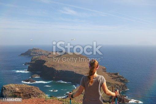 Woman looking at Ponta de São Lourenço in Madeira Island