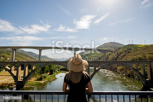 Woman looking at Regua bridges with Douro river and valley during the harvest season.